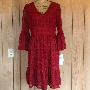 🆕NWT. Boho bell sleeve lace/sheer dress. size 10